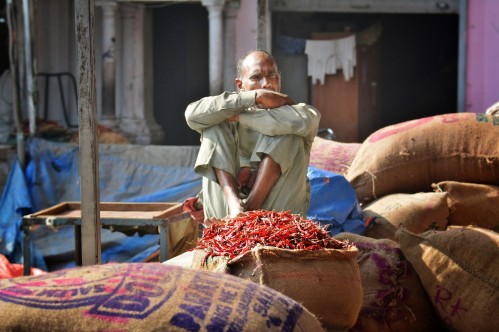 Spice Market worker in Old Delhi - photo by Renata Blonska